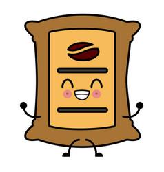 coffee beans sack kawaii cartoon vector image
