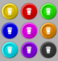 coffee icon sign symbol on nine round colourful vector image