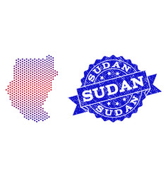 Collage of gradiented dotted map of sudan and vector
