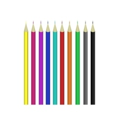 Colorful pencils set for kids education isolated vector