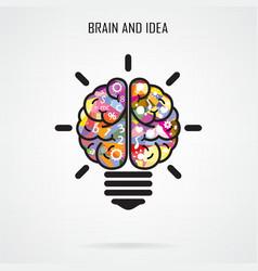 Creative brain Idea and light bulb concept vector