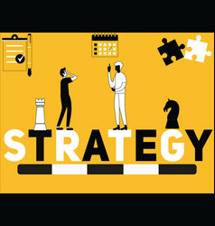 creative word concept strategy and people doing vector image