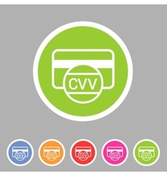 CVV card security code credit icon flat web sign vector image