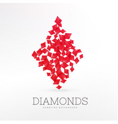 diamonds shape playing card element background vector image