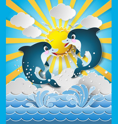 Dolphins in sea on sunset vector