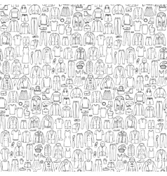 Doodle seamless pattern with man and woman clothes vector image