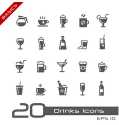 drinks icons - basics vector image