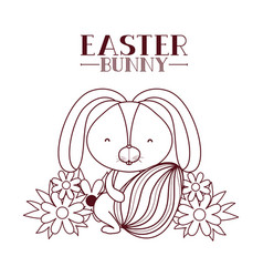 easter bunny label with egg isolated icon vector image