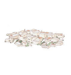 elegant drawing old city with beautiful vector image