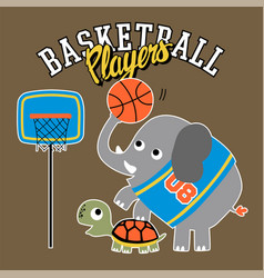 Elephant and turtle funny basketball players vector