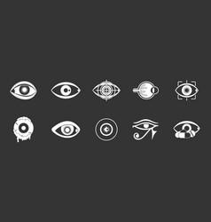 Eyes icon set grey vector