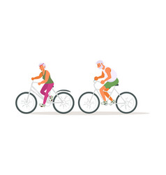 family seniors on cycle ride vector image