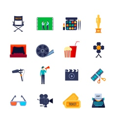 Filmaking Attributes Flat Icons Collection vector