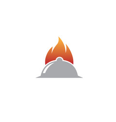 Fire on a big dishfood for logo design vector