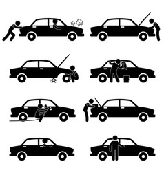fixing checking washing repairing painting car vector image