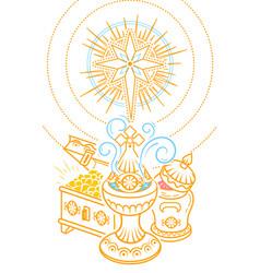 Frankincense myrrh and gold vector