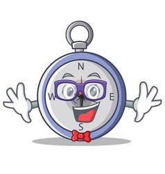 Geek compass character cartoon style vector