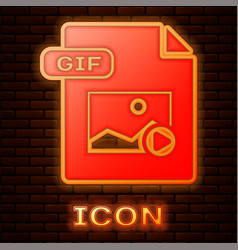 Glowing neon gif file document download gif vector