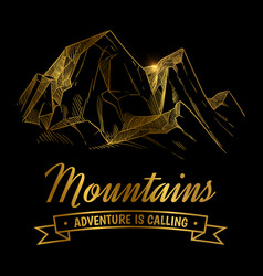 Golden mountains adventures emblem design hand vector