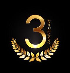 Golden template logo 3 years anniversary vector
