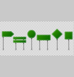 Green traffic signs blank horizontal warning vector