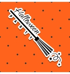 Halloween Sticker Broomstick vector
