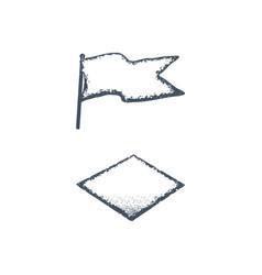 hand drawn blank vintage flag and rhombus shape vector image