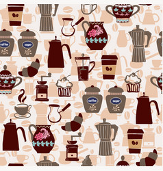 hand-drawn collection seamless pattern coffee vector image