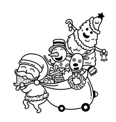 hand drawn santa claus happy new year and merry vector image