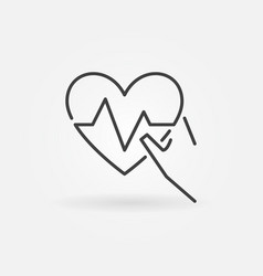 Hand holding heartbeat icon in thin line vector