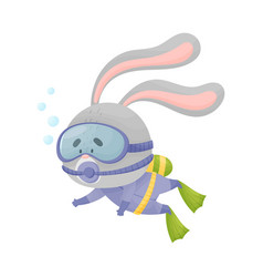 Hare wearing diving suit snorkeling underwater vector