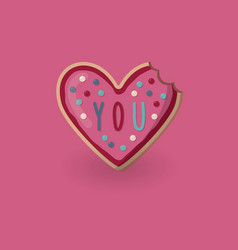 Heart shape bitten cookie with word you valentine vector
