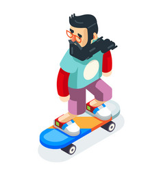 Hipster geek scater ride scateboard cartoon vector