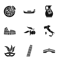 Holiday in Italy icons set simple style vector image