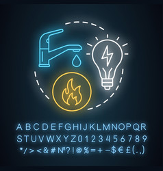 Household utilities neon light concept icon vector