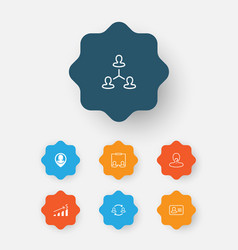 Hr icons set collection of team structure vector