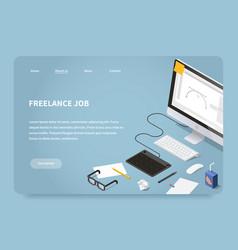 isometric freelancer job landing page vector image