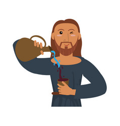 Jesus christ holding clay pitcher water wine vector