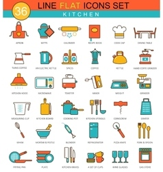 Kitchen flat line icon set Modern elegant vector image