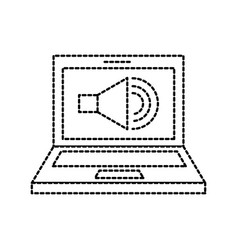 Laptop audio speaker technology online vector