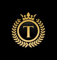 letter t royal crown logo vector image