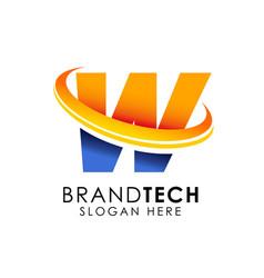 letter w logo design template digital technology vector image