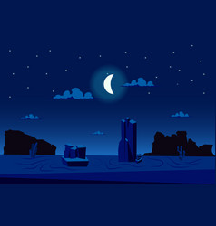 moonlight night at desert landscape background vector image