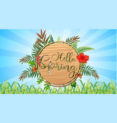 Nature scene background with wooden sign in the vector