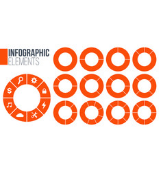 orange set of circle chart infographic templates vector image