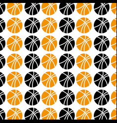 pattern with colorful and monochrome basketball vector image