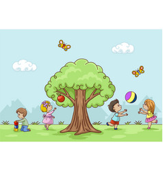 Playing children vector