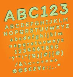 polygonal cartoon font in 3d perspective looking vector image