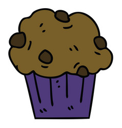 quirky hand drawn cartoon chocolate muffin cake vector image