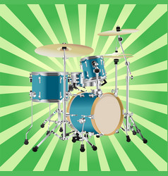 Realistic drum kit background vector